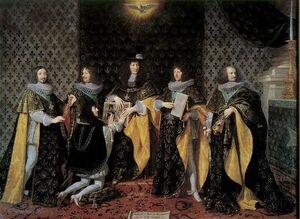 Louis XIV, au lendemain de son sacre, reçoit le serment de son frère Monsieur, duc d'Anjou, comme chevalier de l'Ordre du Saint-Esprit à Reims, le 8 juin 1654, par Philippe de Champaigne