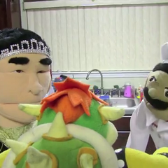 Chef Pee Pee and Jackie Chu talking to Bowser.