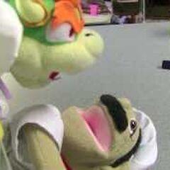 Bowser kissing Chef Pee Pee.