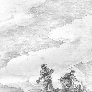 Two fishermen find Aunt Josephine's lifejacket.