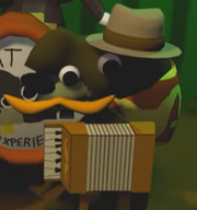 Dashing Moustache Tails playing his accordion