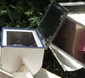 Catassol Solar Oven open for cook pot, 5-1-13.jpg