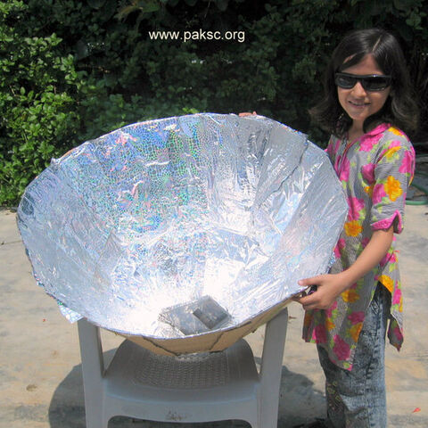 Fatima with her Solar cooker