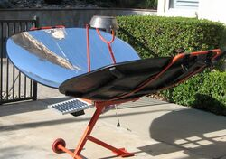 Climate Healers parabolic cooker with PV panel