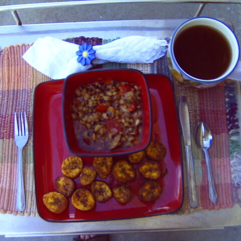 Kelewele with Red Red stew.