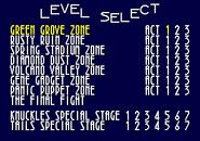 Level Select Sonic 3D Blast