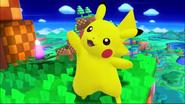 SSB4 Pikachu waving on Windy Hill