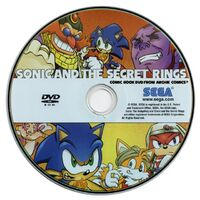 Sonic and the Secret Rings comic DVD