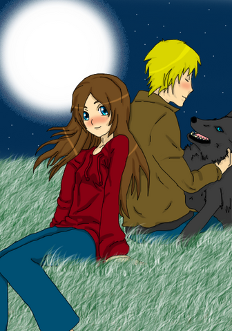File:Megan and Jonathan with a black wolf called Frodo.png
