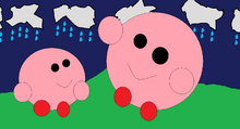 Kirby and his mommy with hills and clouds (Kirby crying)