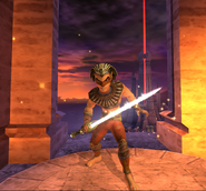 Sphinx holding blade