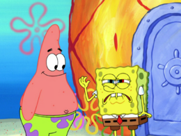 SpongeBob's miscolored eye in The Abrasive Side