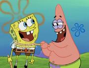 Spongebob and Patrick laughing