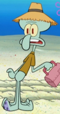 Squidward Wearing a Gardening Hat