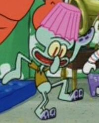 Squidward with a Lamp Shade on His Head