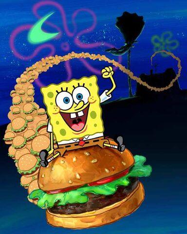 File:Spongebob on a big patty.jpg