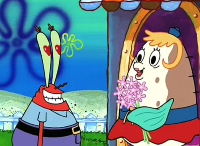File:SpongeBob SquarePants Mrs. Poppy Puff with Flowers in Krusty Love.png