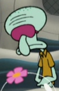 Squidward Wearing a Sleep Mask