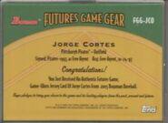 2005 Bowman Baseball Futures Game Jersey Reverse