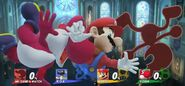 Mario, Yoshi, and Game and Watch being Screen KO'd