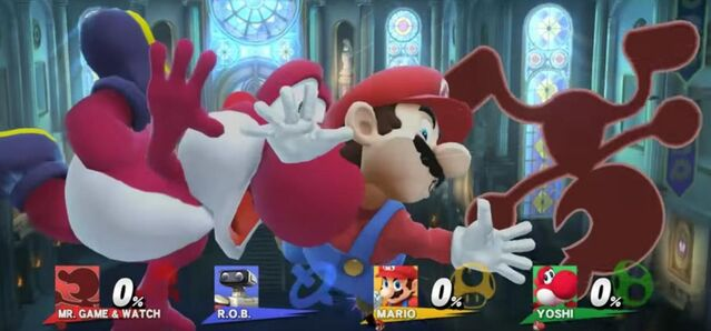 File:Mario, Yoshi, and Game and Watch being Screen KO'd.jpg
