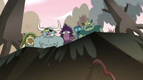 S2E12 Buff Frog and monster look over a ridge
