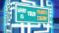S2E17 Truth cube asks 'what is your favorite color?'