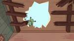 S1E16 Buff Frog looks through roof hole