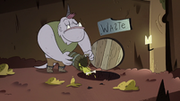 S2E20 Monster dumping trash into waste disposal hole