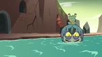 S3E3 Ludo floating in a river on his head