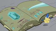 S2E35 Glossaryck opens the book to Levitato page