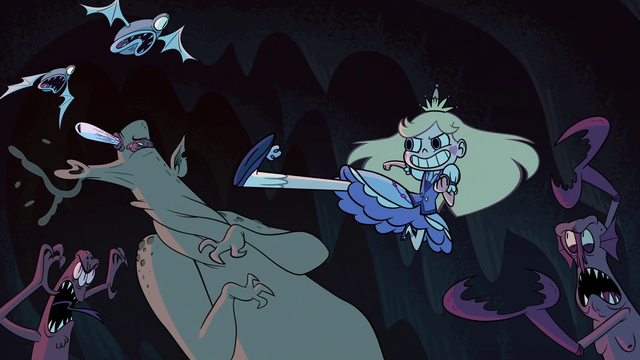 File:S1e1 star kicking monster in cave.png