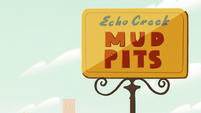 S2E9 Echo Creek Mud Pits sign