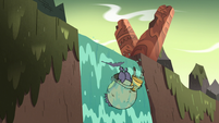 S3E3 Ludo goes over the edge of a waterfall