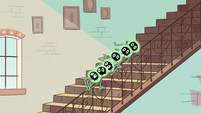 S2E11 Tadpoles on stair rail hear Space Unicorn