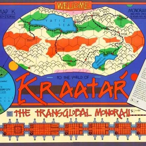 Map of Kraatar, including Monorail routes and diagram of Monorail cars.