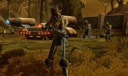 Black Death speeder and droids