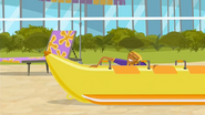 "S1 E14 Bummer says ""Goodbye, my new monkey-making ride-on water banana"""