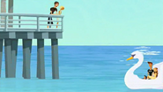 S2 E1 Fin and Curtis at pier but Reef and Lo beat them to it