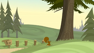 S1 E1 A squirrel falls out of the tree after the tree is hit by Broseph's golf ball