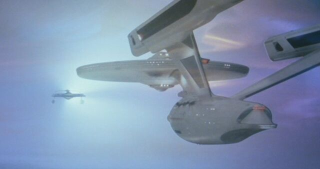 File:USS Enterprise faces off with the USS Reliant in the Battle of the Mutara Nebula.jpg