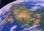 Brain creatures over Earth