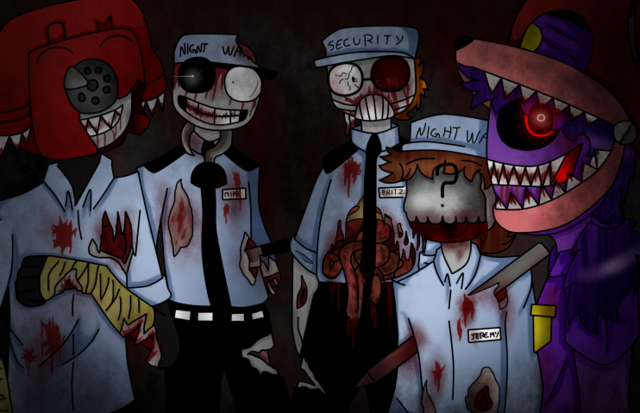 File:Fnaf zombies guards by tsubasanami-d8vo15k.png