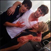 Brandon Jones, Brit Sheridan and Leigh Parker in Supernatural