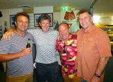Author Tim Baker; surf movie archivist Warren Delbridge; 1976 ASP World Champion Peter Townend; Surf Film maker, Steve Core.