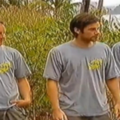 Three members of the West team (Klas, Jerker, and Jesus), prior to the start of the first Immunity Challenge