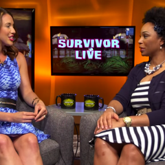 Tasha on the <i>Survivor Live</i> show with <a href=