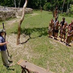 Nakúm listening to the instructions for the individual Immunity Challenge.
