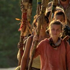 Julia walking to Dara's first Tribal Council.