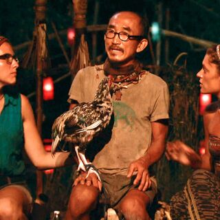 Aubry and Michele at the Final Tribal Council with Tai.